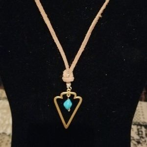Gold Arrow Pendant Necklace with Turquoise bead ac